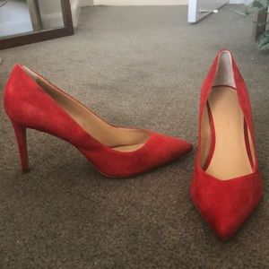 Banana Republic Red Suede Pointed Toe Pumps